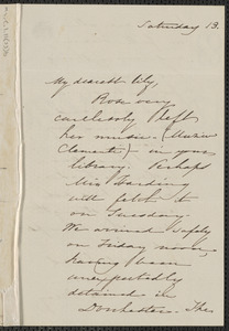 Sophia Hawthorne autograph letter signed to [Annie Adams Fields, Concord], 14 June 1862