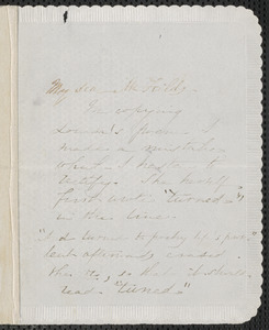 Sophia Hawthorne autograph note signed to James Thomas Fields, [Concord], 15 June [1863]