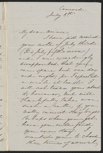 Sophia Hawthorne autograph letter signed to Annie Adams Fields, Concord, 5 July [1862]