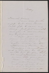 Sophia Hawthorne autograph letter signed to Annie Adams Fields, [Concord], approximately July 1863