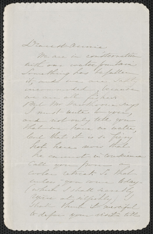 Sophia Hawthorne autograph note signed to Annie Adams Fields, [Concord], 8 July 1863