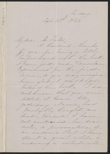 Sophia Hawthorne autograph letter signed to James Thomas Fields, [Concord], 13 September 1863
