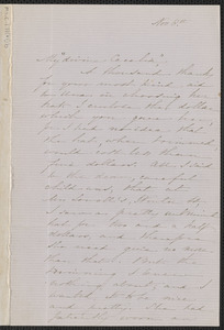 Sophia Hawthorne autograph letter signed to [Annie Adams Fields, Concord], 8 November [1863]
