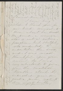Sophia Hawthorne autograph letter signed to Annie Adams Fields, [Concord], 29 November [18]63