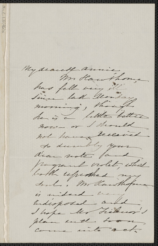 Sophia Hawthorne autograph note signed to Annie Adams Fields, [Concord], 5 March [1864]