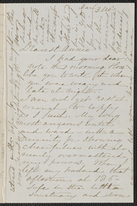 Sophia Hawthorne autograph letter signed to Annie Adams Fields, [Concord], 31 March [1864]