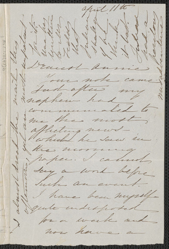 Sophia Hawthorne autograph letter signed to Annie Adams Fields, [Concord], 11 April [1864]