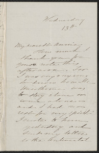 Sophia Hawthorne autograph letter signed to Annie Adams Fields, [Concord], 13 [April 1864]