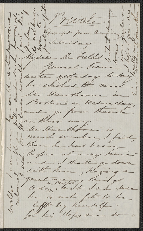 Sophia Hawthorne autograph letter signed to James Thomas Fields, [Concord, 7 May 1864]