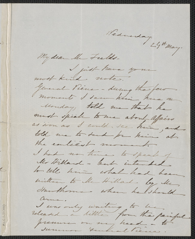 Sophia Hawthorne autograph letter signed  To James Thomas Fields, [Concord, 25 May 1864]