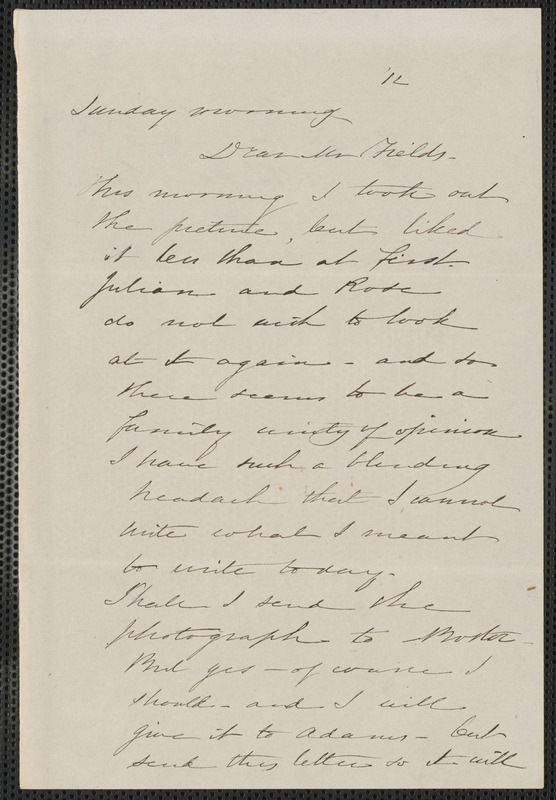 Sophia Hawthorne autograph letter signed to James Thomas Fields, [Concord], 12 [June 1864]
