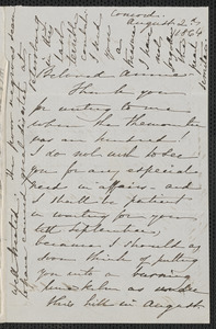 Sophia Hawthorne autograph letter signed to Annie Adams Fields, [Concord], 2 August 1864