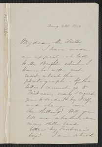 Sophia Hawthorne autograph letter signed to James Thomas Fields, [Concord], 21 August 1864