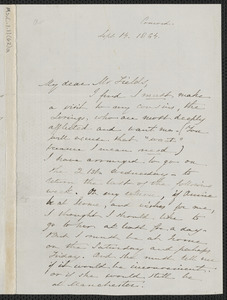 Sophia Hawthorne autograph letter signed James Thomas Fields, [Concord], 14 September 1864