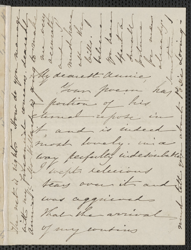 Sophia Hawthorne autograph letter signed to Annie Adams Fields, [Concord], approximately September 1864