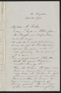 Sophia Hawthorne autograph letter signed to James Thomas Fields, [The Wayside Concord], 3 October 1864