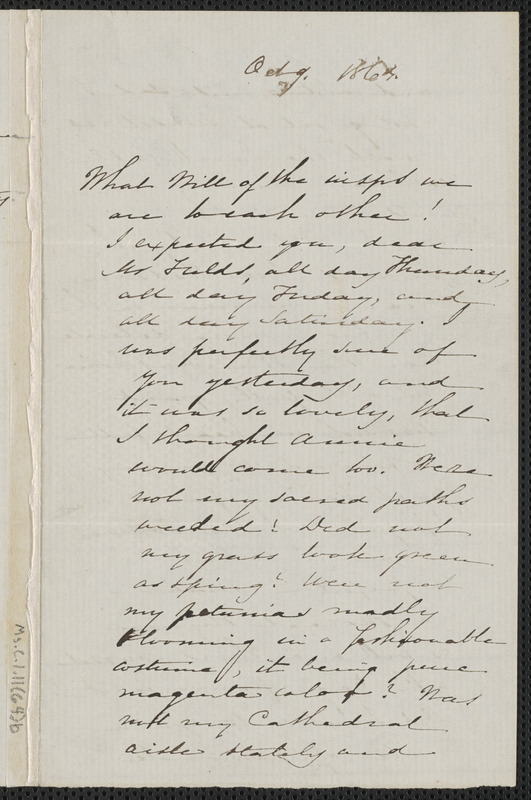 Sophia Hawthorne autograph letter signed to James Thomas Fields, [Concord], 9 October 1864