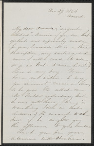 Sophia Hawthorne autograph letter signed to Annie Adams Fields, [Concord], 27 November 1864