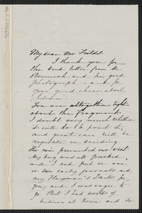 Sophia Hawthorne autograph letter signed James Thomas Fields, [Concord], 5 December 1864