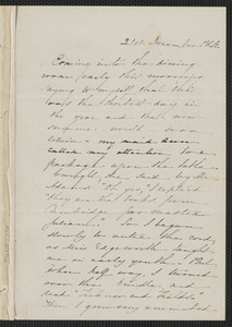 Sophia Hawthorne autograph letter signed [James Thomas Fields, Concord], 21 December 1864