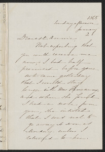 Sophia Hawthorne autograph letter signed to Annie Adams Fields, 2 January 1865