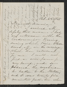 Sophia Hawthorne autograph letter signed to Annie Adams Fields, [Concord], 24 February 1865