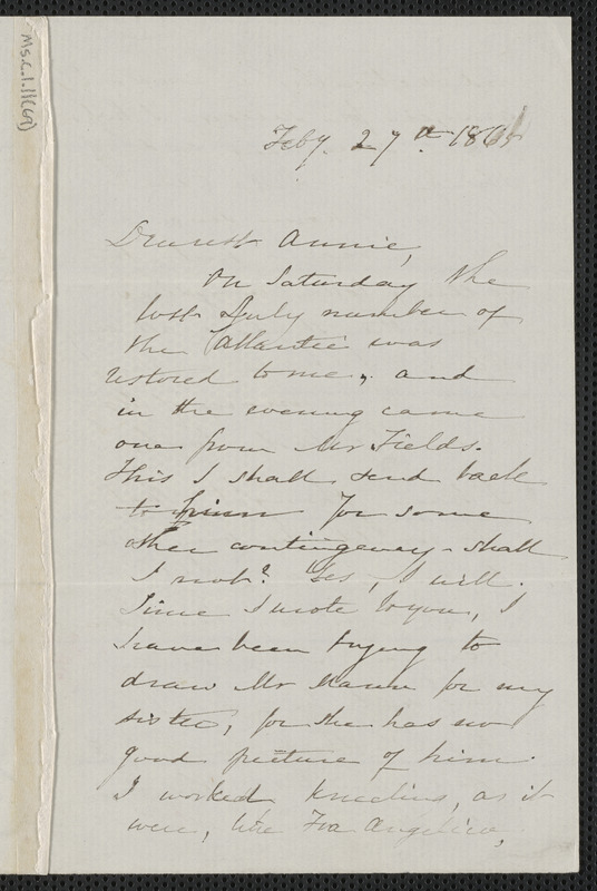 Sophia Hawthorne autograph letter signed to Annie Adams Fields, [Concord], 27 February 1865