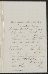 Sophia Hawthorne autograph letter signed to James Thomas Fields, [Concord], 12 March 1865