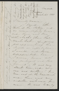 Sophia Hawthorne autograph letter signed to Annie Adams Fields, [Concord], 21 March 1865