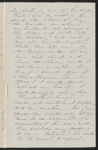 Sophia Hawthorne autograph letter to [Annie Adams Fields, Concord], approximately March 1865