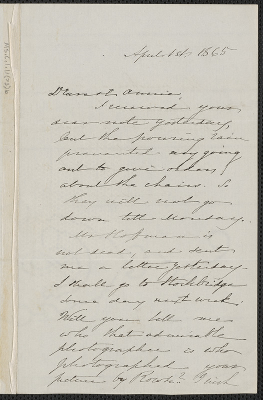 Sophia Hawthorne autograph letter signed to Annie Adams Fields, [Concord], 1 April 1865
