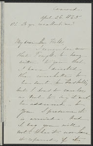 Sophia Hawthorne autograph letter signed to James Thomas Fields, [Concord], 26 April 1865
