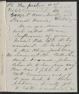 Sophia Hawthorne autograph letter signed to Annie Adams Fields, [Concord], 28 April 1865