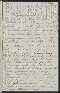 Sophia Hawthorne autograph letter signed to Annie Adams Fields, [Concord], 20 May 1865