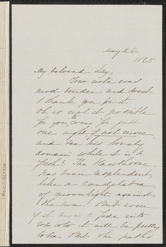 Sophia Hawthorne autograph letter signed to [Annie Adams Fields, Concord], 26 May 1865