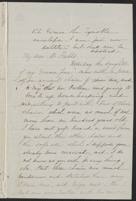Sophia Hawthorne autograph letter signed to James Thomas Fields, [Concord], 4 June 1865