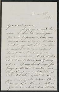 Sophia Hawthorne autograph letter signed to Annie Adams Fields, [Concord], 9 June 1865
