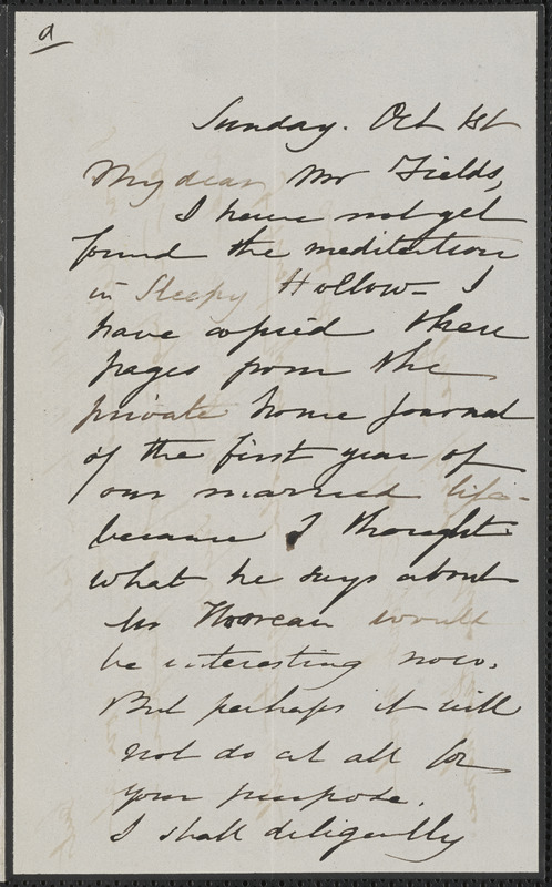 Sophia Hawthorne autograph letter signed to James Thomas Fields, [Concord], 1 October [1865]
