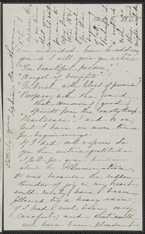 Sophia Hawthorne autograph letter signed to [James Thomas Fields, Concord], 8 October 1865