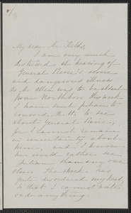 Sophia Hawthorne autograph letter signed to James Thomas Fields, [Concord], 20 November 1865