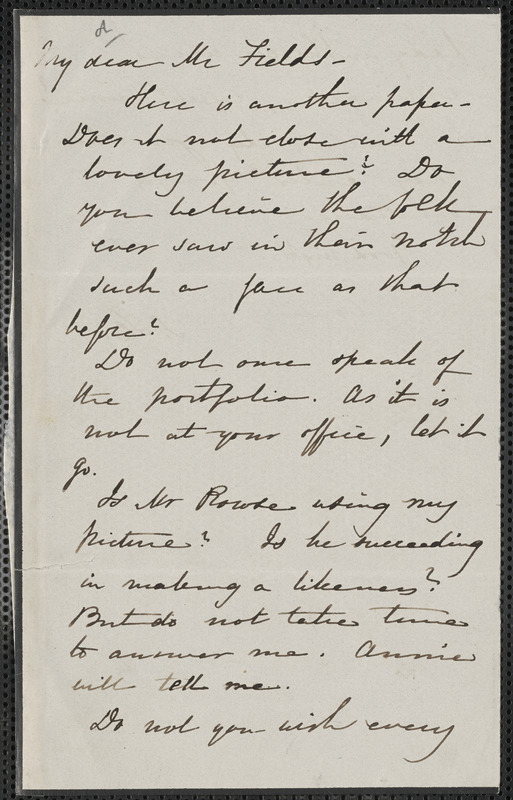 Sophia Hawthorne autograph letter signed to James Thomas Fields, [Concord], approximately 20 November 1865