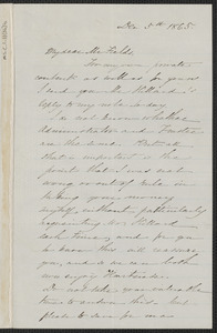 Sophia Hawthorne autograph letter signed to James Thomas Fields, [Concord], 5 December 1865