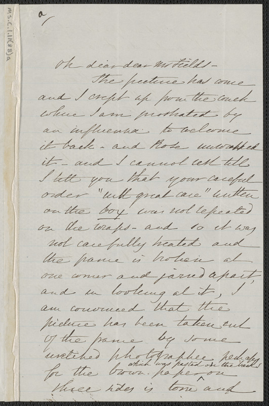 Sophia Hawthorne autograph letter signed to James Thomas Fields, [Concord], approximately December 1865