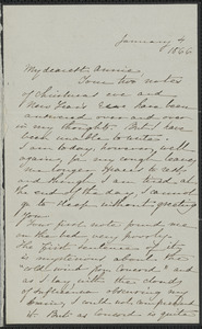 Sophia Hawthorne autograph letter signed to Annie Adams Fields, [Concord], 4 January 1866