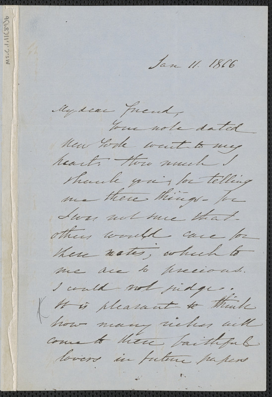 Sophia Hawthorne autograph letter signed to [James Thomas Fields, Concord], 11 January 1866
