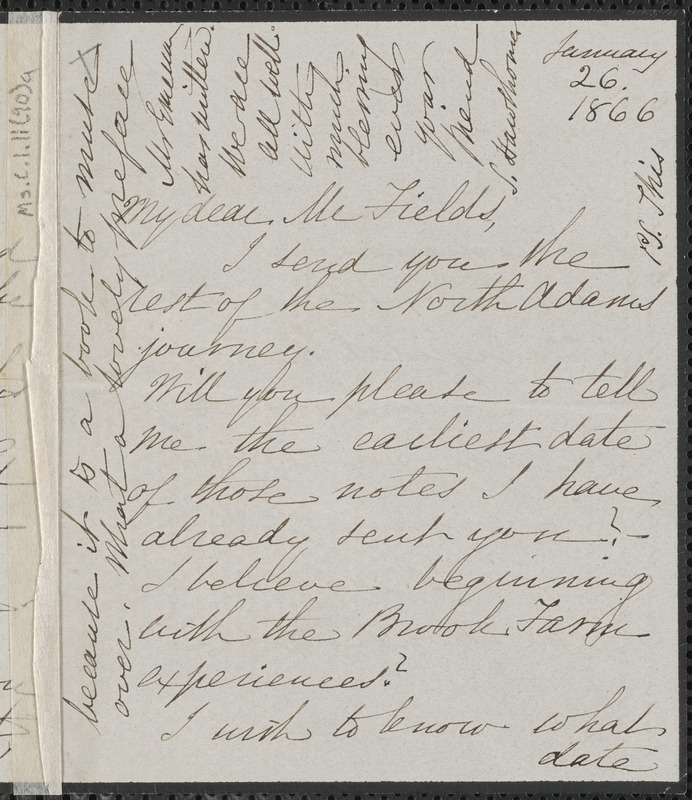 Sophia Hawthorne autograph letter signed to James Thomas Fields, [Concord], 26 January 1866