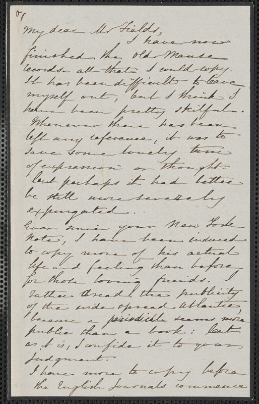 Sophia Hawthorne autograph letter signed to James Thomas Fields, [Concord], 18 February 1866