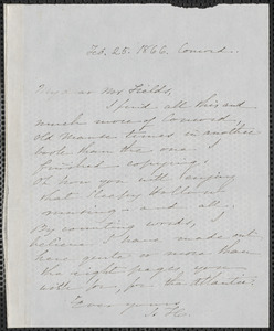 Sophia Hawthorne autograph note signed to James Thomas Fields, [Concord], 25 February 1866