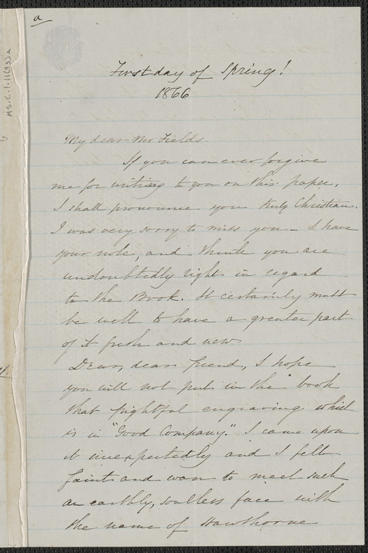 Sophia Hawthorne autograph letter signed to James Thomas Fields, [Concord], approximately 1 March 1866