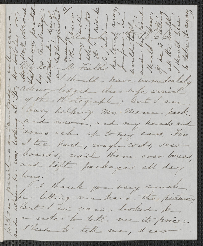 Sophia Hawthorne autograph letter signed to James Thomas Fields, [Concord], 8 March 1866